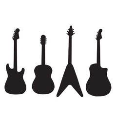 set of acoustic guitars and electric guitars vector image vector image