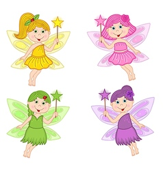 set of isolated color fairies vector image vector image