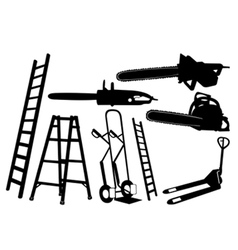 set of tools and ladders vector image vector image