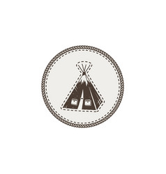 Tent icon patch and sticker vintage hand drawn vector