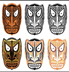 tribal indian totem scary halloween face masks vector image vector image
