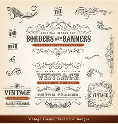 vintage calligraphic frames banners and badges vector image vector image