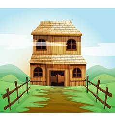 Wooden house in the field vector image vector image