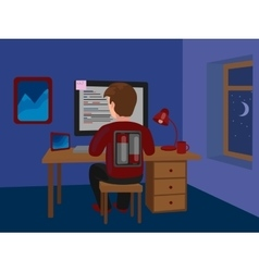Workaholic man on batteries working late vector