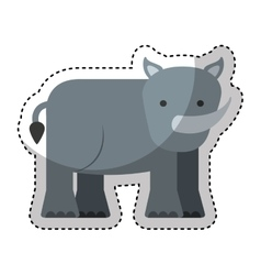 Cute rhino character icon vector