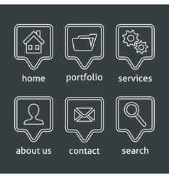 White website menu icons vector