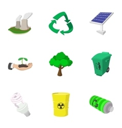 Environment icons set cartoon style vector