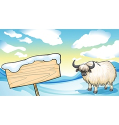 A yak in the snow vector