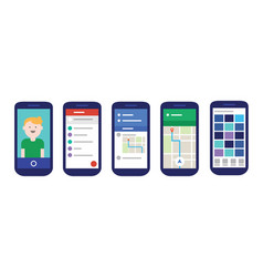 Mobile apps user interface with material design vector