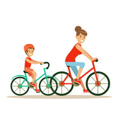 Smiling woman and boy riding bikes mom and son vector