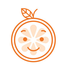 emoji - orange with happy smile isolated vector image