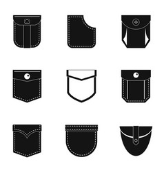Cotton pocket icon set simple style vector