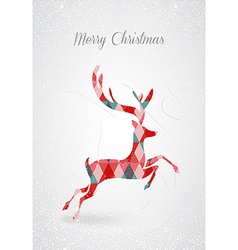 Merry christmas retro abstract deer postal card vector
