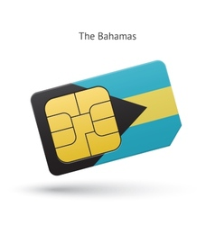 Bahamas mobile phone sim card with flag vector