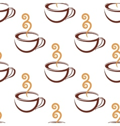 Seamless pattern of steaming cup of coffee vector image