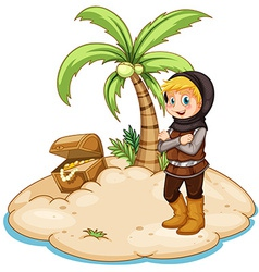 Knight and island vector image