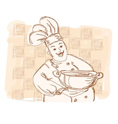 Chef cook - doodle card vector