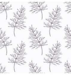 Hand drawn dill branch outline seamless pattern vector