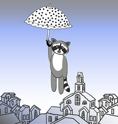 Fly raccoon with umbrella vector