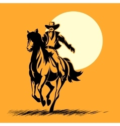 Wild west hero cowboy silhouette riding horse at vector