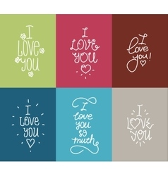 I love you hand drawn lettering inscription set vector