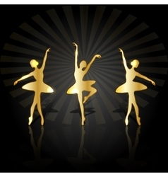 Gold ballerinas dancing on the stage vector