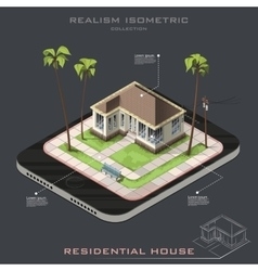 Realistic isometric house on earth icon vector