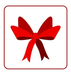 Red bow with ribbons icon vector