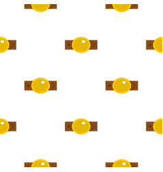 Belt with gold oval shaped buckle pattern flat vector