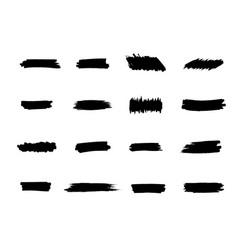 Brush strokes set black hand paint streaks vector