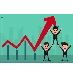 Business team holds in hand to raise the graph vector image