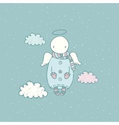 Cartoon angel in the sky vector image vector image