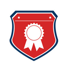 Color shield with medal prize vector