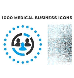 Demography Diagram Icon with 1000 Medical Business vector image vector image