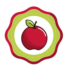 Emblem sticker red apple fruit icon stock vector