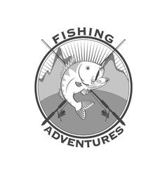 Fishing adventures emblem vector image vector image