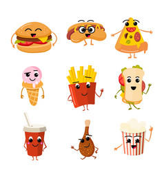 Funny fast food characters vector