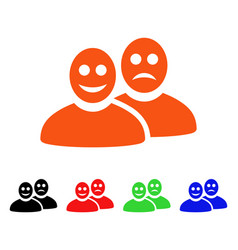 Glad and sad people icon vector