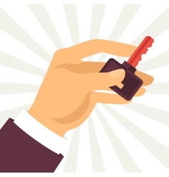 hand holding key in flat design style vector image vector image