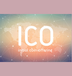 ico initial coin offering banner vector image