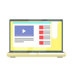 Laptop with internet video on the screen internet vector