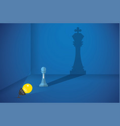 lightbulb flash the pawn chess to shows big shadow vector image vector image