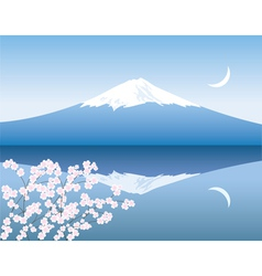 Mount Fuji moon and sakura vector image vector image