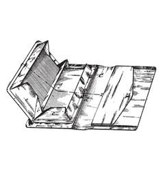Multiple compartment pocket book vintage engraving vector