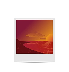 Photoframe with sunset beach background vector