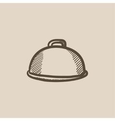 Restaurant cloche sketch icon vector image