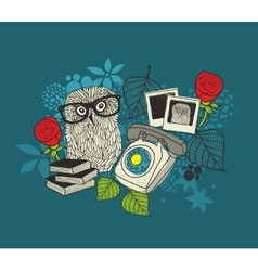 Romantic print with cute male owl and female owl vector image