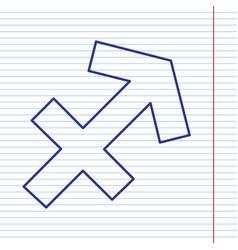 Sagittarius sign navy line vector