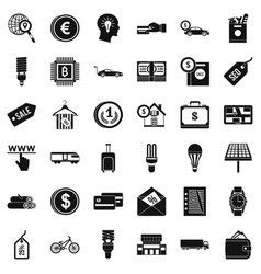 save economy icons set simple style vector image