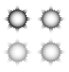 set halftone sun or stars rays to pop art vector image